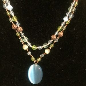 2 tier green/blue/yellow beaded necklace w bonus